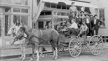 Buckboard with passengers downtown Kalama Washington 1910