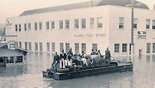 Duck boat with passengers downtown Kalama Washington flood of 1948