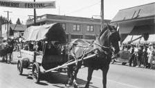 Replica covered wagon in the Strawberry Festival parade Kalama Washington circa 1939-1951